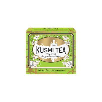 THÉ VERT GINGEMBRE CITRON - 20 SACHETS MOUSSELINE 44G - KUSMI TEA