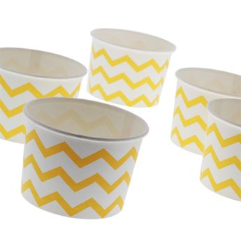 6 TREAT CUPS POT A GLACE JAUNE ET BLANC - ANNIVERSARY HOUSE