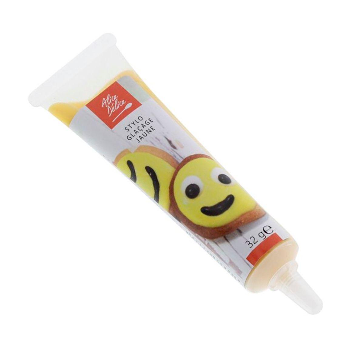 Stylo glaçage jaune pour décorer les biscuits 32g