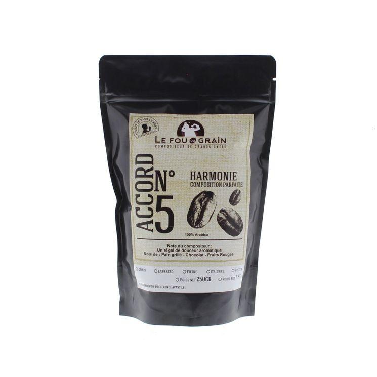 Café en grains 250gr Harmonie Accord n°5 - Le Fou du Grain
