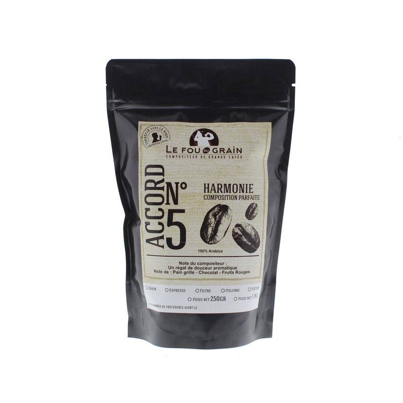 Café en grains Harmonie Accord n°5 250gr - Le Fou du Grain