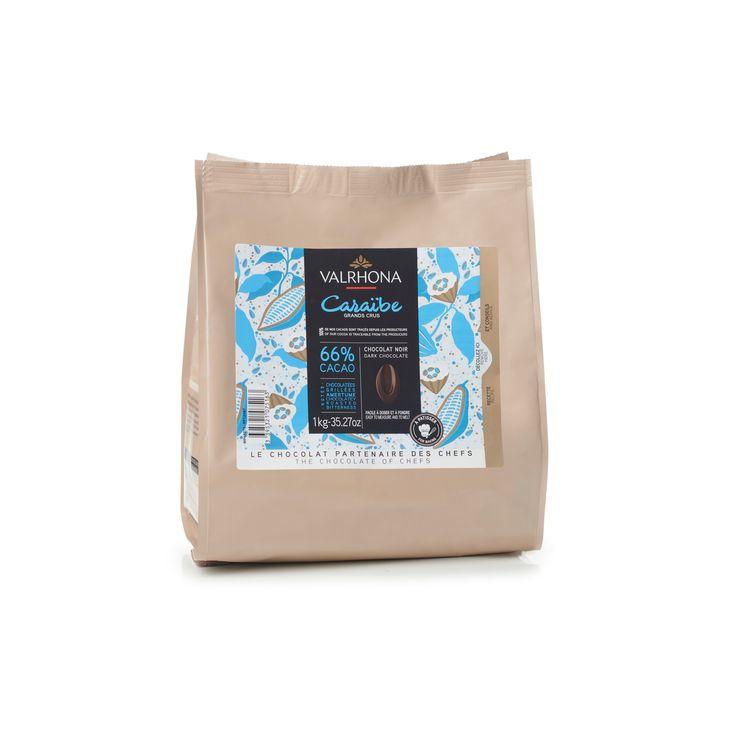 Sac de fèves chocolat noir Caraïbes 66% 1 kg - Valrhona