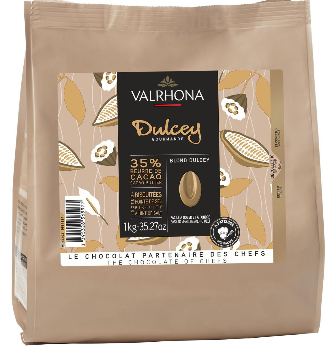 SAC DE FEVES CHOCOLAT DULCEY 32% 1 KG - VALRHONA