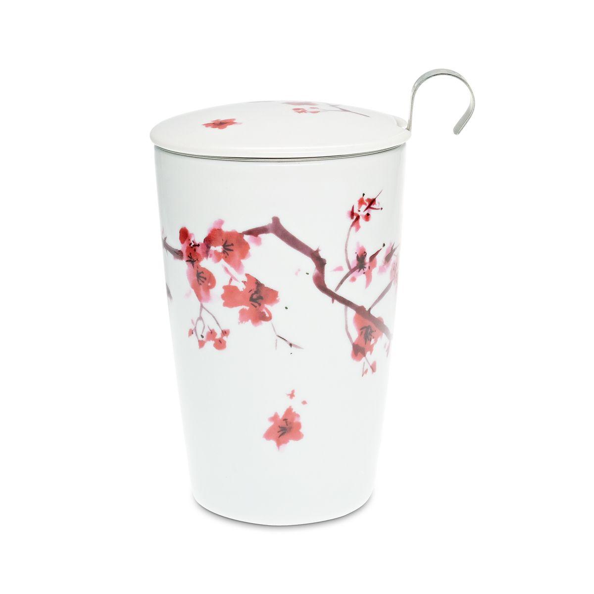 Tisanière porcelaine blanche fleurs de cerisier 350ml - Teaeve