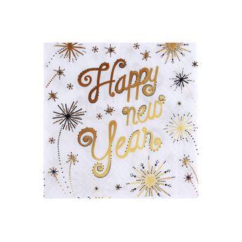 SERVIETTES HAPPY NEW YEAR 25X25CM - COCKTAIL