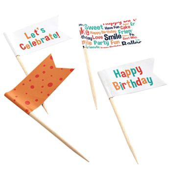 "SET DE 24 DRAPEAUX DECORATIFS ""HAPPY BIRTHDAY"" POUR MUFFINS - BIRKMANN"