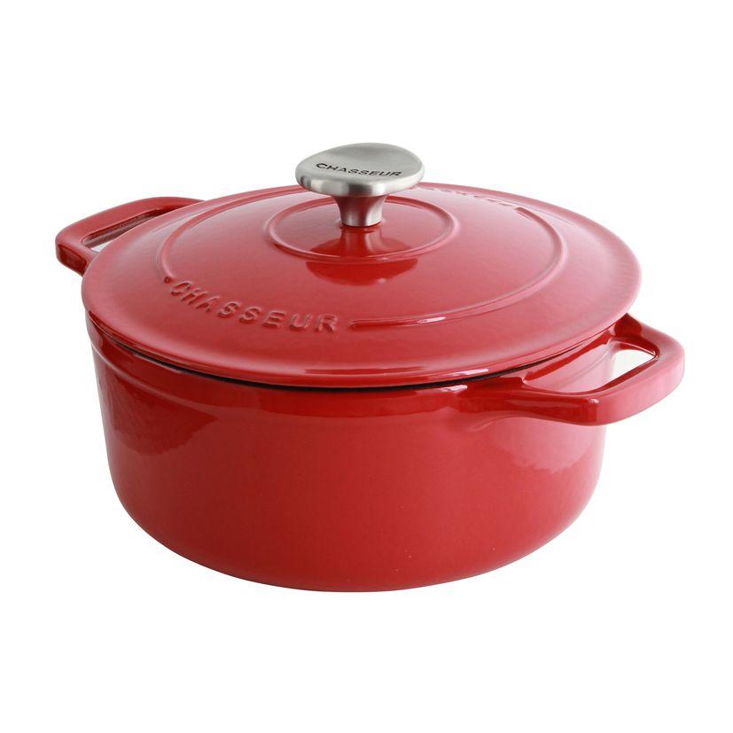 Cocotte en fonte ronde 20 cm 2.4l rouge - Le Chasseur