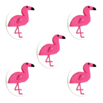 5 DECORS EN SUCRE FLAMANTS ROSES - ANNIVERSARY HOUSE
