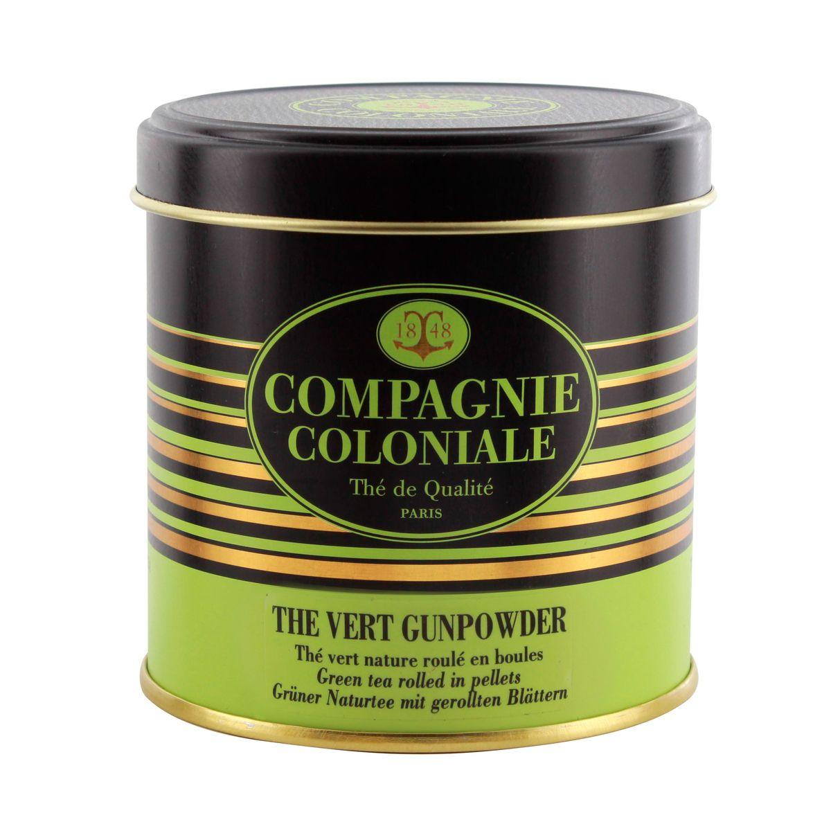 Thé vert nature et aromatisé boîte métal thé vert Gunpowder - Compagnie Coloniale