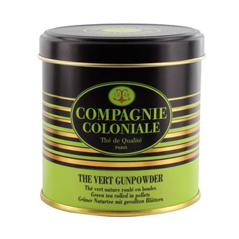 THE VERT NATURE ET AROMATISE BOITE METAL THE VERT GUN POWDER - COMPAGNIE COLONIALE