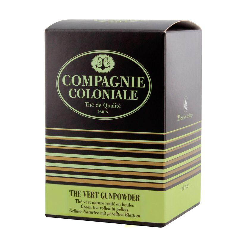 Thé vert nature et aromatisé  25 berlingots Thé vert Gunpowder - Compagnie Coloniale