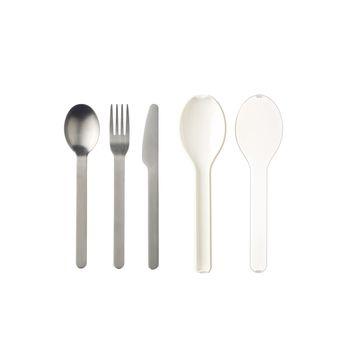Achat en ligne Couverts nomades : couteau. fourchette et cuillère Ellipse blancs - Mepal