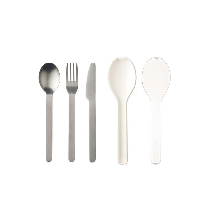 Couverts nomades : couteau, fourchette et cuillère Ellipse blancs - Mepal
