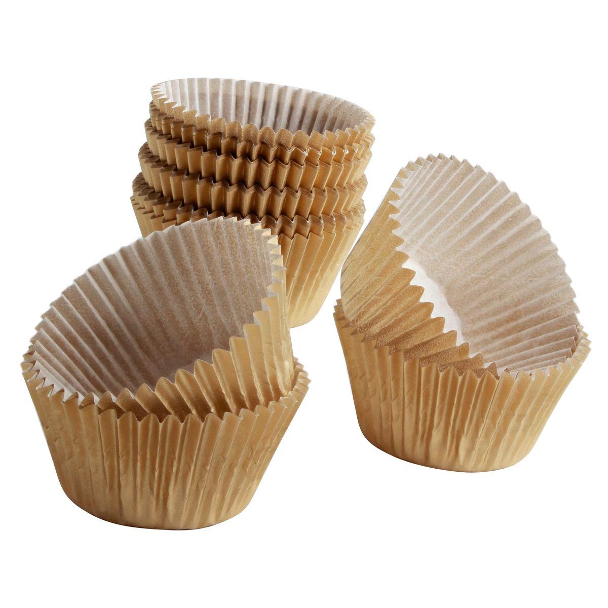 45 caissettes de cuisson à cupcakes et muffins dorés 7.5 x 3.5 cm - Chevalier Diffusion
