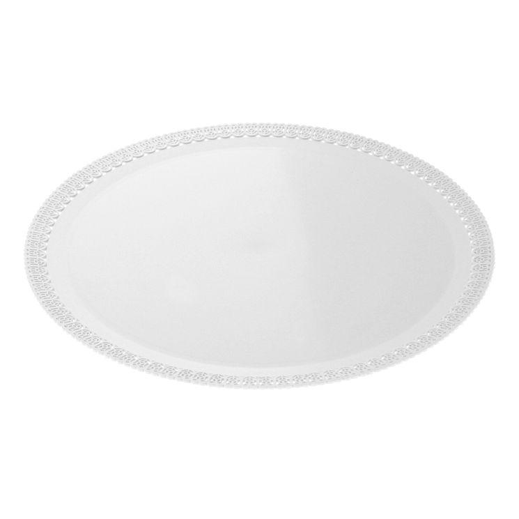 Plateau rond en plastique blanc avec bords dentelle 32cm - Patisdecor