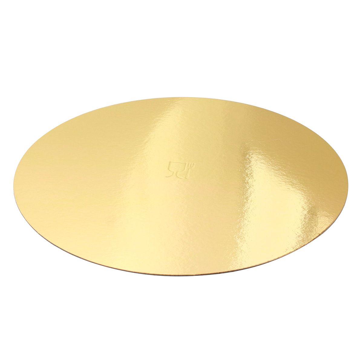 5 supports à gâteaux ronds dorés 28 cm - Gatodeco