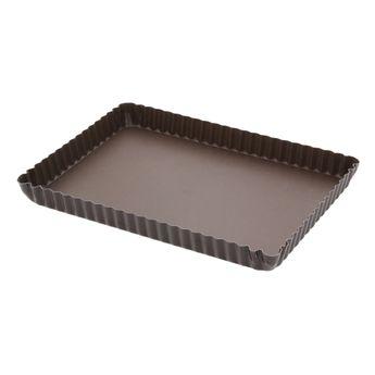Achat en ligne Moule à tarte rectangulaire en métal anti adhérent 8/10 parts 29 cm - Alice Délice