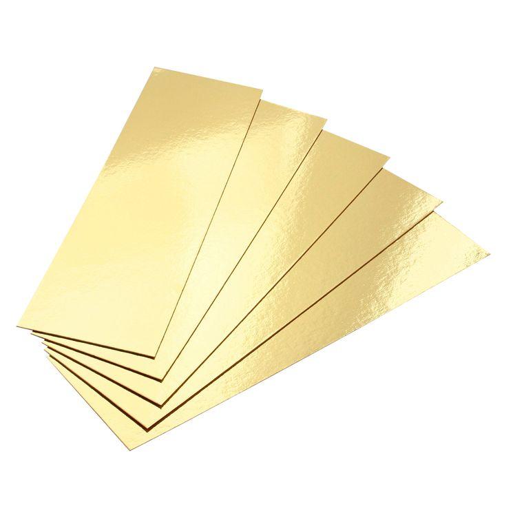 5 supports à gâteaux rectangulaires dorés 35 x 10 cm - Gatodeco