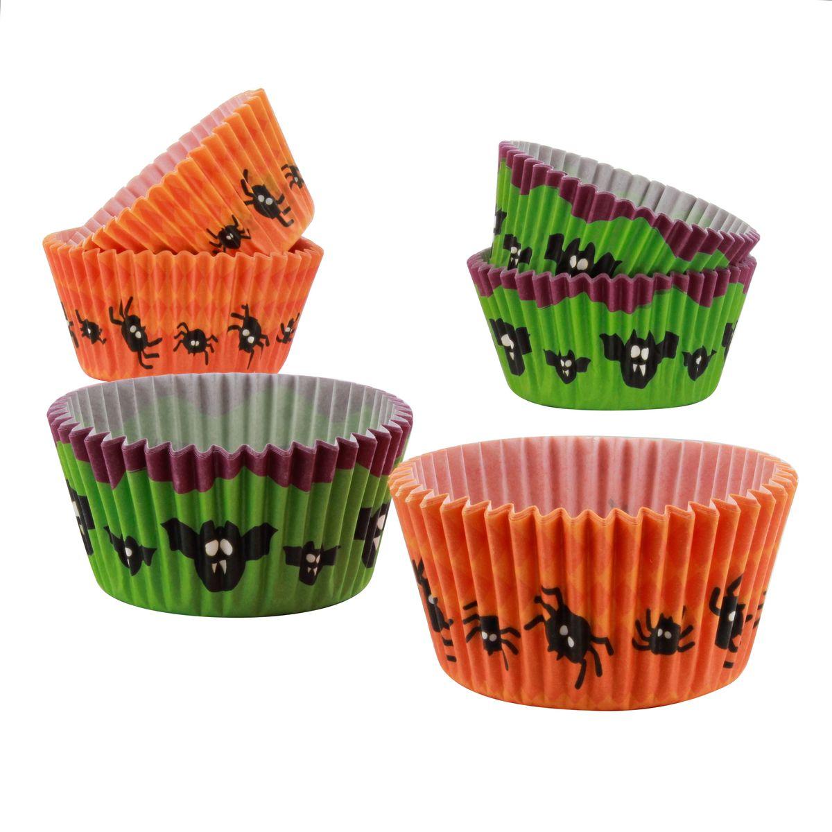 48 caissettes à muffins Halloween vert et orange 7 cm - Birkmann
