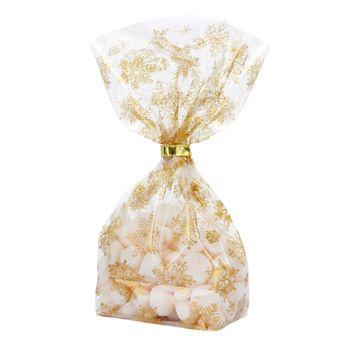 Achat en ligne 10 sachets confiseur avec clips flocons de neige dorés Noël 14,5 x 23,5 cm - Zischka