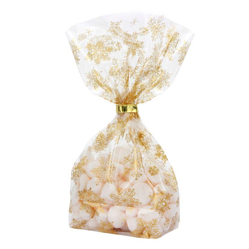 10 sachets confiseur avec clips flocons de neige dorés Noël 14,5 x 23,5 cm - Zischka