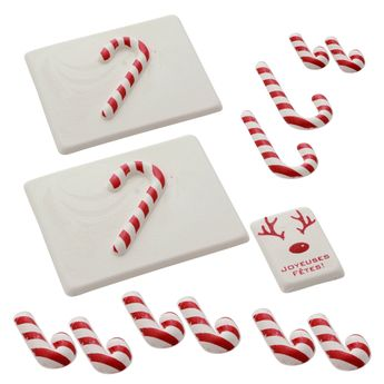 SET DECOR ALIMENTAIRE BUCHE CANDY CANE - ALICE DELICE