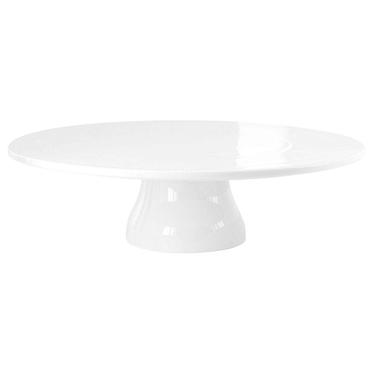Plat à gâteau sur pied en porcelaine blanche 33 cm - Aerts