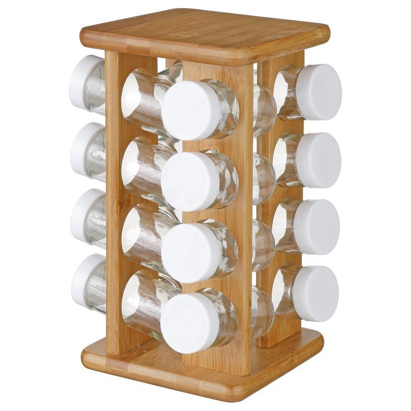 Support a épices rotatif bambou 16 pots en verre - Secret de Gourmet