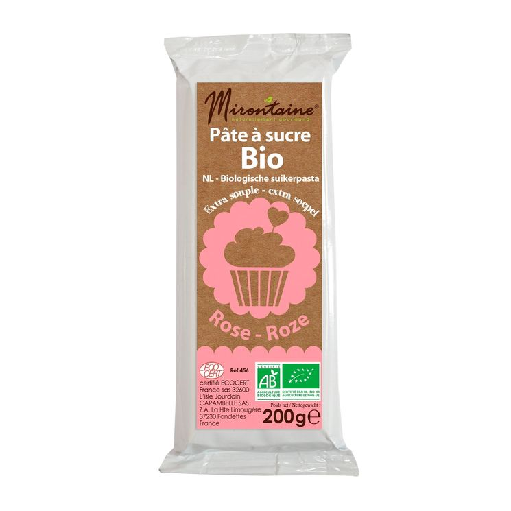 Pâte à sucre bio rose 200gr - Mirontaine