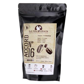 Achat en ligne Café moulu pour cafetière italienne 250gr Honduras Accord n°16 - Le Fou du Grain