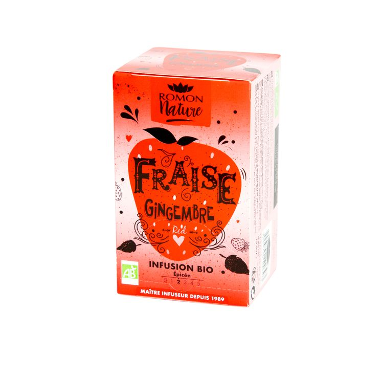 Tisane plaisir bio fraise gingembre - Romon Nature