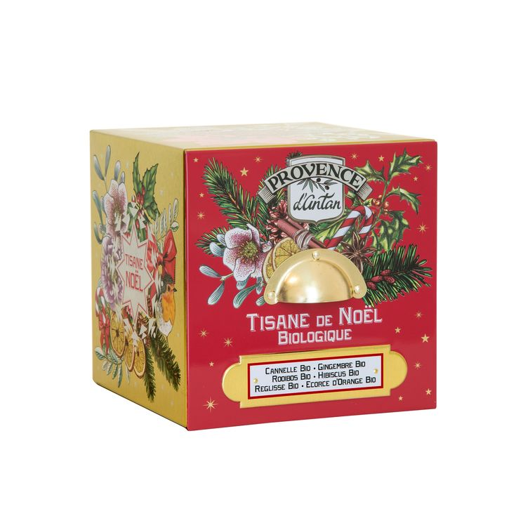 Cube métal tisane Noel 24 sachets bio 60g - Provence d´Antan