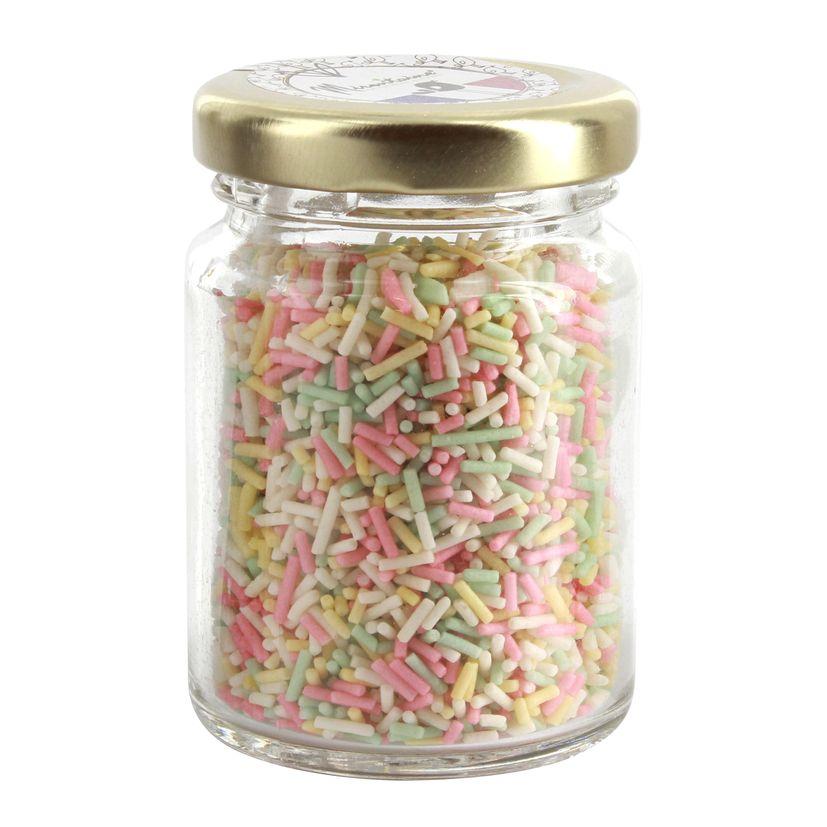 Pot en verre décors sucres vermicelles pastel 60gr - Mirontaine