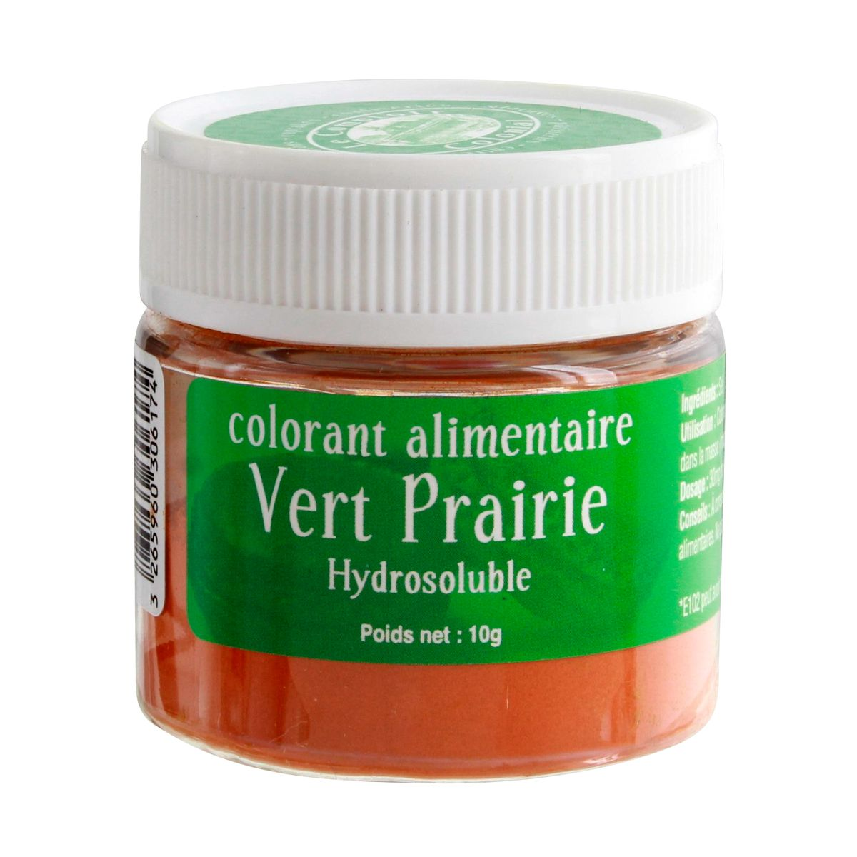 Colorant alimentaire hydrosoluble vert prairie 10 gr - Le Comptoir Colonial