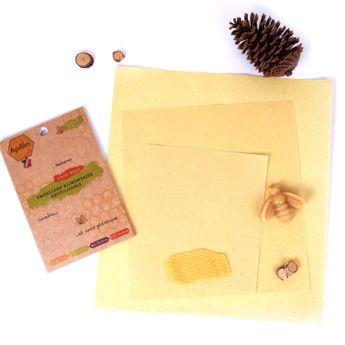 Achat en ligne Lot de 3 emballages alimentaires réutilisables coton et cire d´abeille taille S. M et L - Apifilm