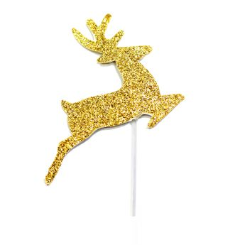 Achat en ligne Décor de gâteau : 12 rennes dorés pour bûche de Noël - Anniversary House