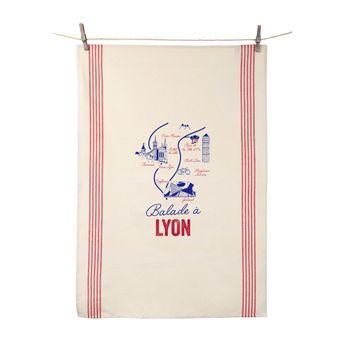 Torchon Balade à Lyon 55x80 cm 100% coton - Tissage de L´Ouest