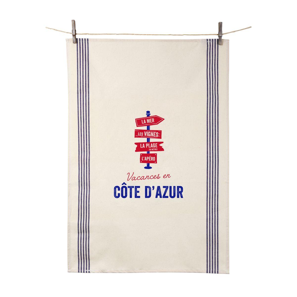 Torchon Vacances en Côte d´Azur 55x80 cm 100% coton - Tissage de L´Ouest