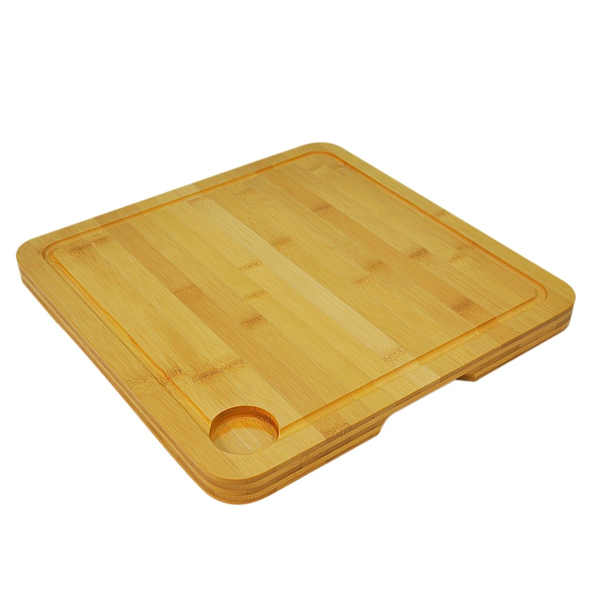 Planche à découper bambou rainurée 35X35X2.5cm passant au lave vaisselle - Point Virgule