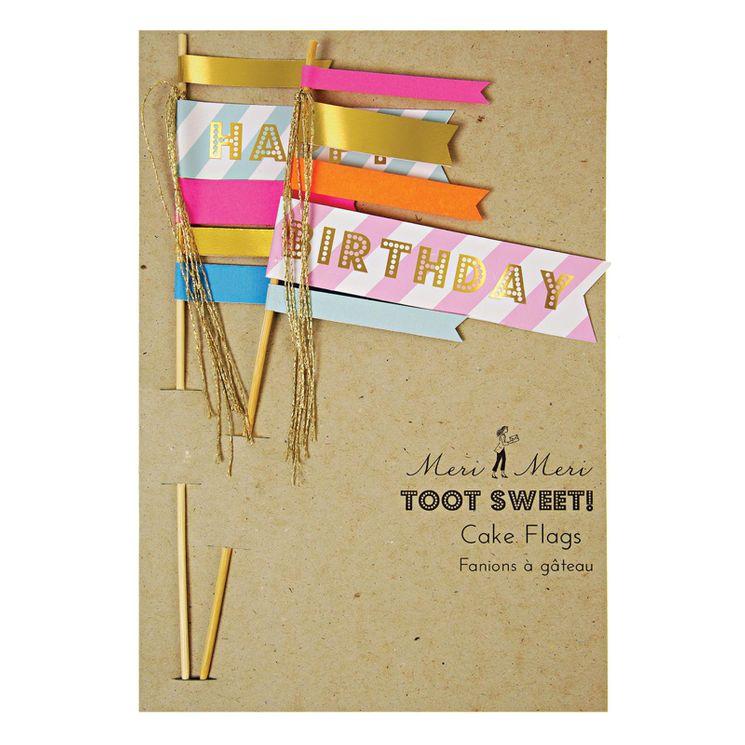 Décor de gâteau : Drapeaux Happy Birthday - Meri Meri