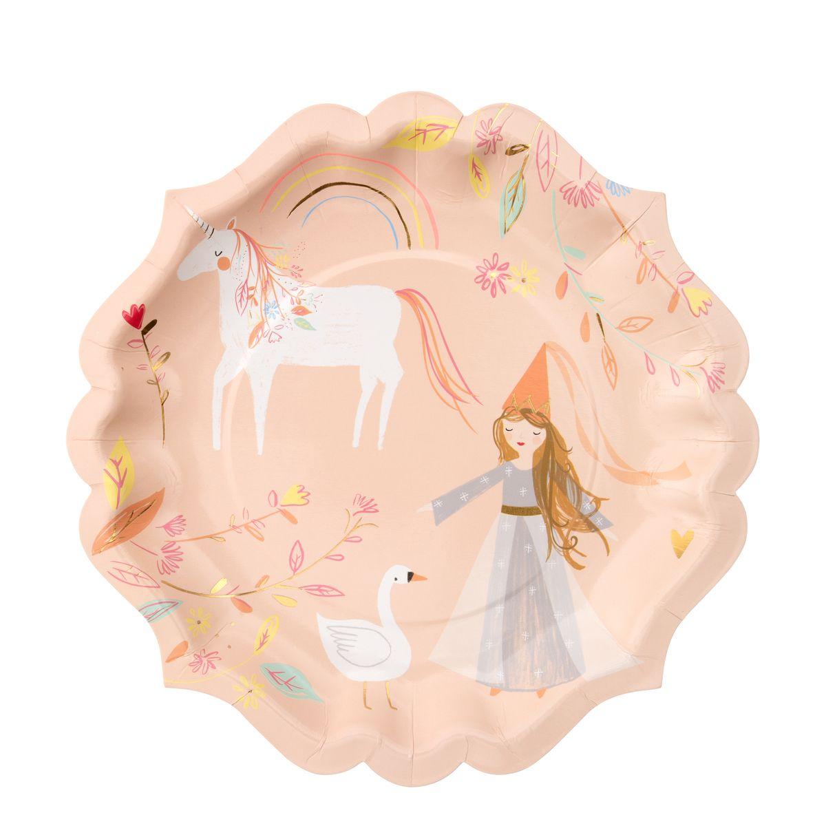 8 grandes assiettes princesse - Meri Meri