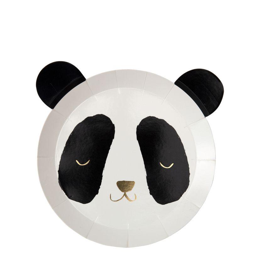 8 assiettes panda - Meri Meri