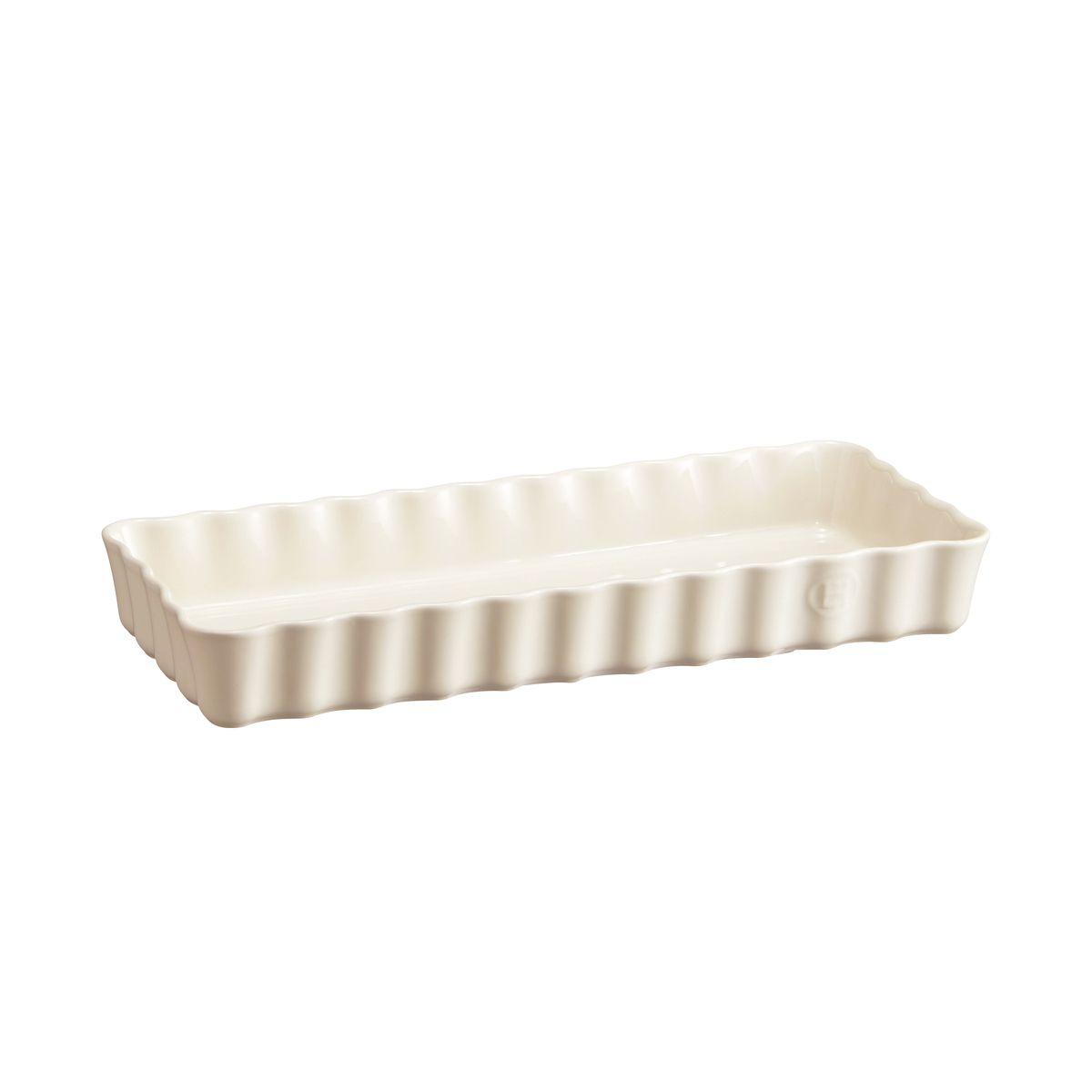 Moule à tarte / tourtière rectangulaire en céramique blanc cassé 36.5 x 15 x 5 cm - Emile Henry