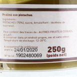 Pot de praliné pistaches 70% 250gr - Trésors de Chefs