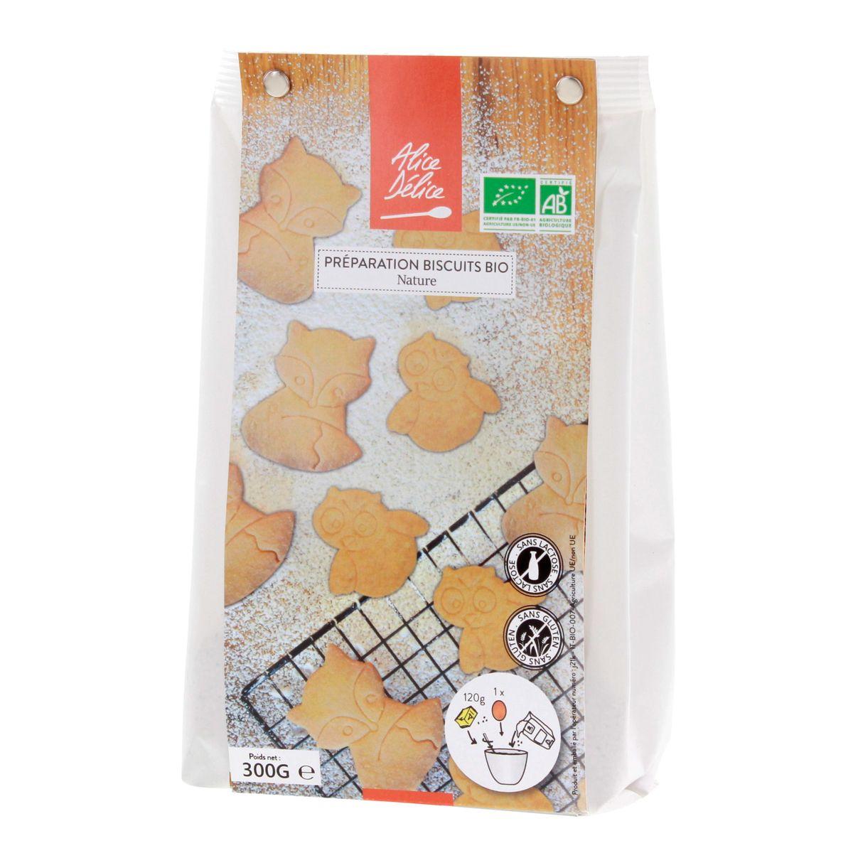 Préparation biscuit nature bio 300gr sans gluten - Alice Délice