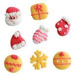 Plaque 8 décors comestibles Noël rouge et jaune - Alice Délice