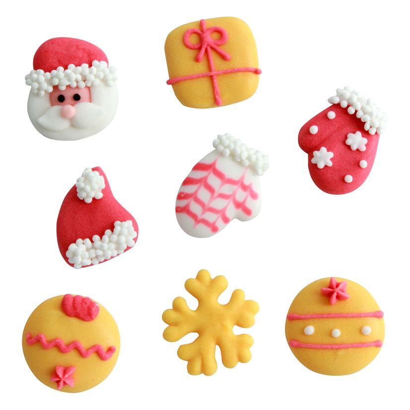 Plaque 8 décors en sucre rouge et or Noël - Alice Délice