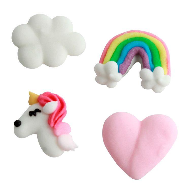 Plaque de décors comestibles : 8 décors thème licorne : licorne, arc-en-ciel, nuage et coeur
