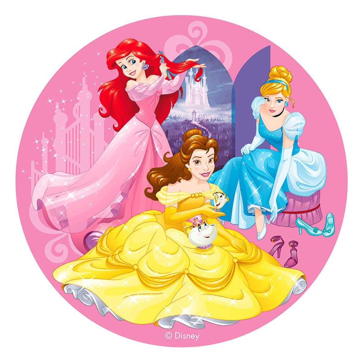 Disque en azyme princesses Disney Ariel, Belle et Cendrillon 20 cm - Dekora