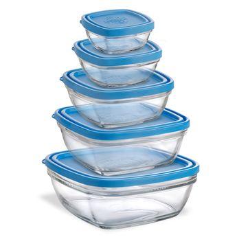 Achat en ligne Lot de 5 boîtes en verre carrés transparent avec couvercle bleu - Duralex